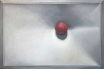 Red Ball on Canvas Painting
